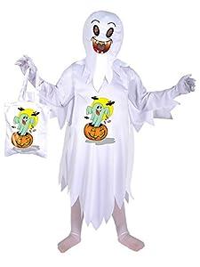 FIORI PAOLO fantasmas disfraz niño con bolsa porta-dolci, blanco 3-4 anni Bianco