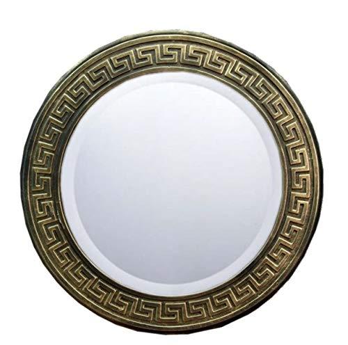 WANDSPIEGEL Bild MÄANDER Spiegel 3D Relief Bronze Effekt 46cm Durchmesser EINMALIG Handbemalt Spiegel ca. 35cm Durchmesser LAUFENDER Hund