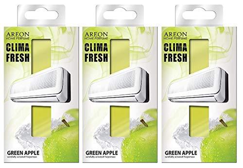 AREON Clima Fresh Ambientador Manzana Verde Casa Aire Acondicionado Olor Fruit Original Hogar Salón Oficina Tienda (Green Apple Pack de 3)