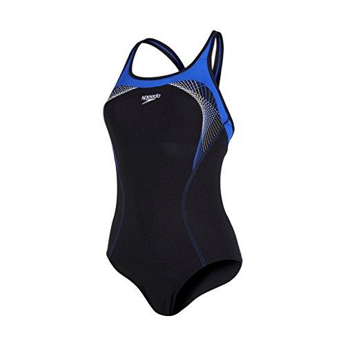 Speedo Damen Badeanzug Fit Kickback Black/Deep Peri/White, 32 -