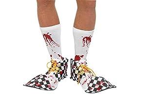 Smiffys 44779 Bloody Clown - Cubiertas de zapatos unisex para adultos, color blanco y negro, talla única