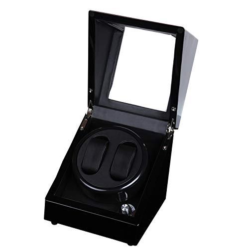 QWERTOUY Caja de enrollador de Reloj Interior de Cuero Negro, Pintura Brillante de Madera Negra, enrollador automático de Reloj de 5 Modos