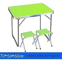 Yuan Table Mesa Plegable Cuadrada pequeña - y Silla con Mango Mesa de Comedor Plegable de Madera para Camping - estación de Trabajo informática/Desk (Color : C, Tamaño : 70 * 50 * 60cm)