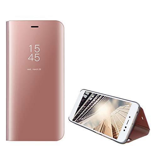 Amocase Smart Clear View Schutzhülle mit 2-in-1-Eingabestift für Samsung Galaxy S10, ultradünn, galvanisiert, Standspiegel, stoßfest, PC + magnetischer PU-Leder Flip Case Samsung Galaxy S10 rose gold