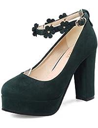 4b44173a5ff5d9 Frauen Plateau high-Heel Schuhe Vintage niet dicken Heel Pumps Party Heels  mit Ankle Strap