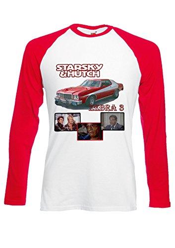 Starsky & Hutch Ford Gran Torino Novelty Red/White Men Women Unisex Long Sleeve Baseball T Shirt-XXL -