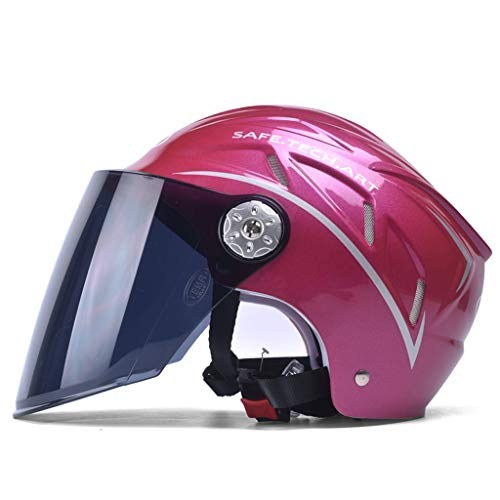 Preisvergleich Produktbild JiaoLiao Elektrischer Motorradhelm Unisex Sommer Halbbedeckter Leichter Halbhelm Vier Jahreszeiten Sonnenblende Helm Unisex (Farbe : Roland red)