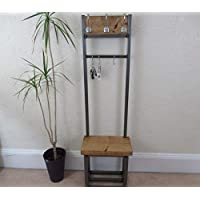 Coat stand with seat & shoe storage, Narrow hallway coat rack; bijou coat rack, ideal for porch, handmade product