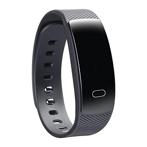 Bracelet de fréquence cardiaque intelligente, 100% IP67 Pression artérielle étanche, oxygène sanguin, détection de sommeil, test de fonctionnement, cardiofréquencemètre, suivi de calories et horloge, sur la base d'équipement médical, Et IOS8.0 ( couleur : Noir )
