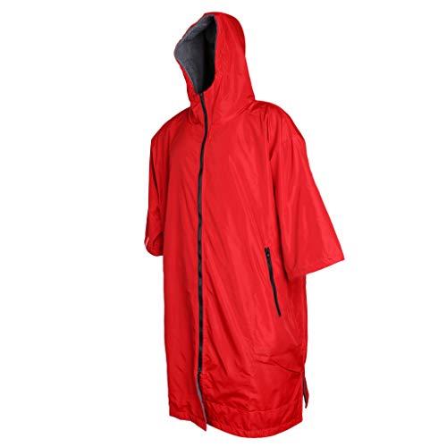 perfeclan Regencape mit Fleecefutter Regenponcho Regenjacke Regenschutz Regen Schutz Fahrradschutz - Rot und Silber