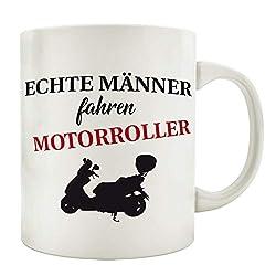 Interluxe Tasse Kaffeebecher ECHTE MÄNNER Fahren Motorroller Hobby Geschenk Geburtstag