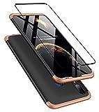 DECHYI kompatibel mit Huawei P Smart 2019 Hülle, handyhülle + panzerglas 360 Grad Schutz Matte PC Hard Cover Körperschutz Kratzfeste Abdeckung 360°Voll Staubschutz case Gold+Schwarz -
