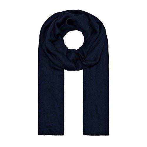 MANUMAR Schal für Damen einfarbig | Hals-Tuch in dunkel-blau als perfektes Sommer-Accessoire | Klassischer Damen-Schal | Stola | Mode-Schal | Geschenkidee für Frauen und Mädchen
