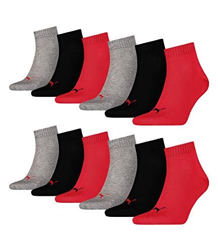 12 Paar Puma Unisex Quarter Socken Sneaker Gr. 35 - 49 für Damen Herren Füßlinge, Socken & Strümpfe:39-42, Farbe:232 - black / red