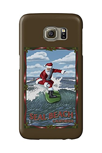 Seal Beach, California - Santa Surfing (Galaxy S6 Cell Phone Case, Slim Barely There) - Santo Seal
