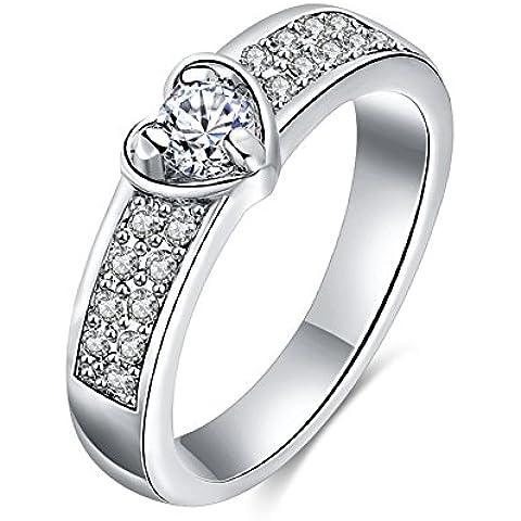 Bling Jewelry–Pendientes de la mujer 18ct chapado en oro cristales corazón boda bandas