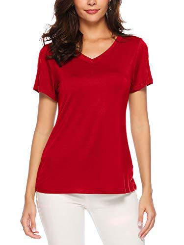 AMORETU Damen Casual Bluse Tops Kurzarm Rot Tuniken T-Shirt Baumwolle Lose V-Ausschnitt Oberteil Shirt L