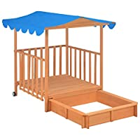 mewmewcat Wooden Playhouse for Kids with Sandbox Wood Blue UV50 130 x 130 x 143 cm Easy to Assemble