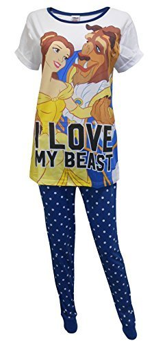 - 41VQfxfoNNL - Get Wivvit Disney Beauty & The Beast Love Ladies Pyjamas