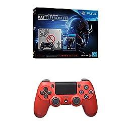 PlayStation 4 (PS4) - Consola 1 TB + Star Wars Battlefront - Edición Especial + Dualshock 4 V2 Mando Inalámbrico, Color Rojo (Magma Red)