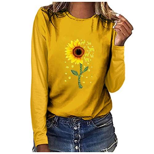 Fenverk Pullover Damen Sweatshirt Damen Herbstjacke Damen Damne Oberteile Mit Leopardmuster Casual Langarm T-Shirt O-Ausschnitt Hemd Mode Basic Tee Herbst Winter(F Gelb,XL)