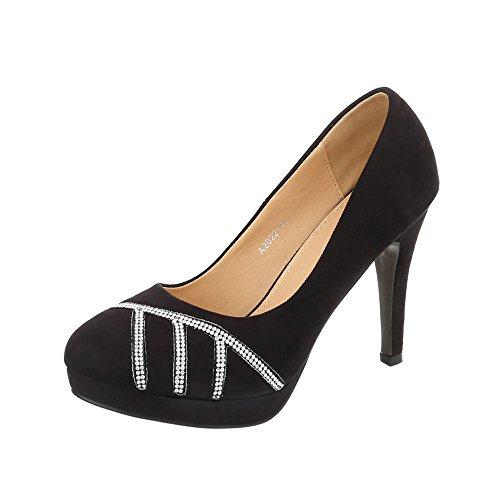 Ital-Design High Heel Pumps Damenschuhe High Heel Pumps Pfennig-/Stilettoabsatz High Heels Pumps Schwarz A2022-19-1