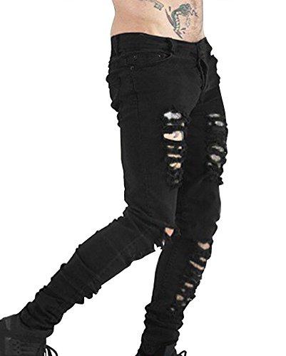 Laozan uomo jeans skinny strappati pantaloni jeans taglio straigh pantaloni