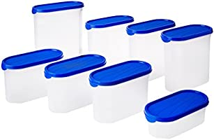 Amazon Brand - Solimo Storage Container Set, 8-pieces, Blue