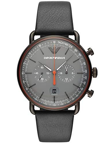 Emporio Armani Herren Chronograph Quarz Uhr mit Leder Armband AR11168