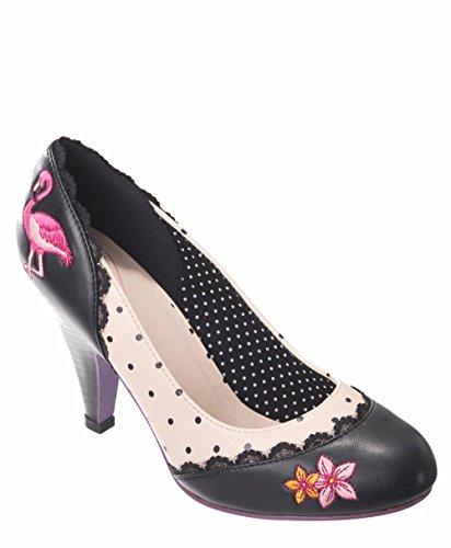 Dancing Days RAYNA Vintage Polka Dots FLAMINGO Pumps High Heels Rockabilly -