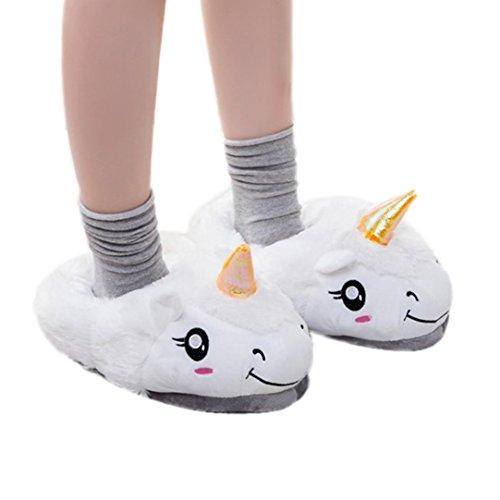 Chaussons Winter Plush Slippers, Amlaiworld Hommes Femmes Dessin Pantoufles Chaussures de Maison D'Hiver Pantoufle en Peluche Chaussons Animaux Peluche (Chaussons 36-39, Blanc)