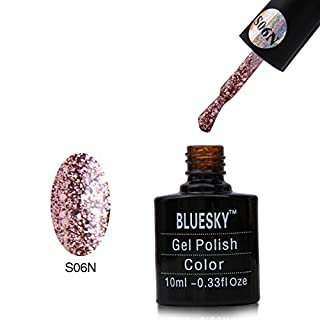 Bluesky UV LED Gel Soak Off Nail Polish, Pink Glitter, S06N (Requires drying under UV or LED Lamp)
