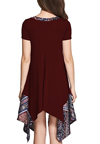 Frauen Kleid Freizeitkleid Druckkleider Sommerkleider V-Ausschnitt Zum Schnüren Kurzarm Irregular Patchwork Besonders Lightweight Wein rot