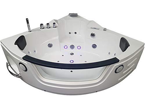 Baignoire balneo ouest-balnéo baignoire angle 140cm x 140cm x 62cm (3 LEDs 7 couleurs, 21 jets massants, blanche, prête à l'emploi) spa jacuzzi petite baignoire à bulle certification TUV allemande.
