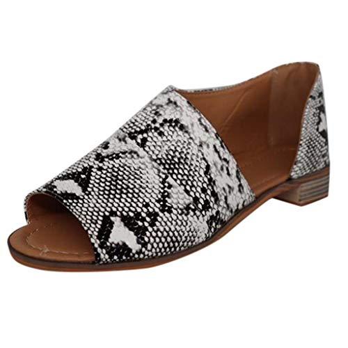 iYmitz Sommer Freizeit Schuhe für Frauen Sommer Mode Seite Offene Abdeckung Ferse Outdoor Retro Peep Toe Sandalen(Dunkelgrau,EU 38)