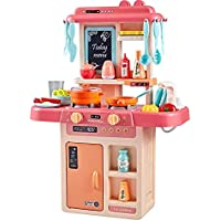 obletter trade kids 36-piece kitchen playset, with realistic lights & sounds, play sink with running water,dessert shelf…