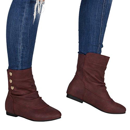 Schlupfstiefel Damen Stiefeletten Warm Gefüttert Stiefel Nieten Dunkelrot