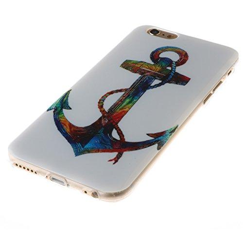 Ooboom® iPhone 8/iPhone 7 Hülle TPU Silikon Gel Ultra Dünn Schutzhülle Weich Stoßstange Handy Tasche Case Cover für iPhone 8/iPhone 7 - Menschlicher Mond Bunt Anker