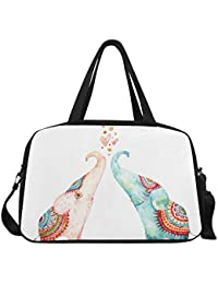 InterestPrint Travel Duffel Tote Bag With Shoes Compartment For Women & Men Watercolor Pair Of Lovely Elephants