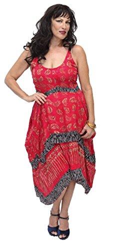 Lotustraders -  Vestito  - linea ad a - Paisley - Senza maniche  - Donna Red