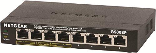 Netgear GS308P-100PES Switch a 8 Porte Gigabit, 4 Porte POE, Nero