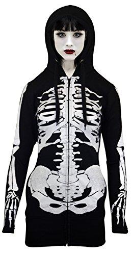 Donne scheletro felpa con cappuccio, con manica lunga halloween cappuccio nero xl