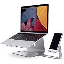 Supporto per notebook, Spinido Premium ottimo supporto in alluminio per notebook e supporto regolabile per smartphone il magnesio-alluminio per tutti i notebook e smartphone (Argento)