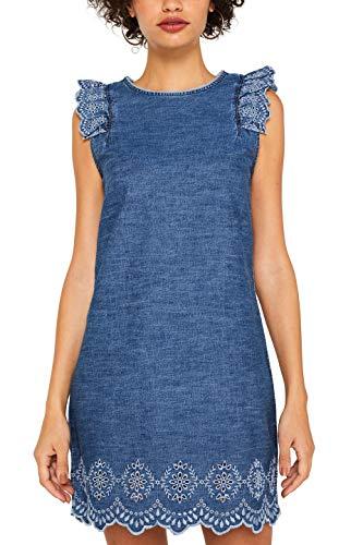 Strukturierte Baumwolle Kleid (edc by ESPRIT Damen 079Cc1E002 Kleid, Blau (Blue Medium Wash 902), Small (Herstellergröße: S))