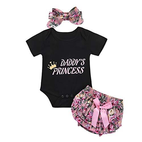 Shiningbaby Prinzessin Strampler-Oberteil und Hose von Baby Girl Daddy 2 Stück Neugeborenes Outfit