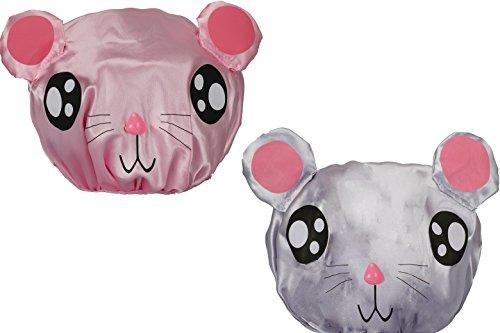 Scopri offerta per PrettyDate, 2cuffie da doccia impermeabili doppio strato con elastico, per bambini (rosa, grigio)