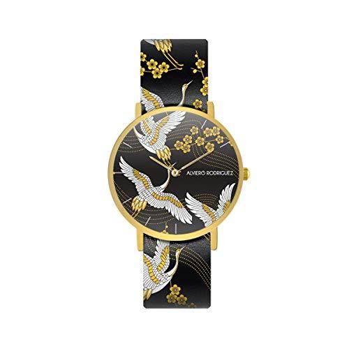 Alviero Rodriguez Uhr Japanese Gold Gru Cinderina Blumen Vogel Japan Nipponico mit Echtlederband Japan Vogel