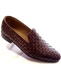 scarpe uomo, modello mocassino slippers, slip-on in pelle intrecciata marrone