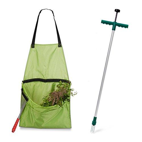 2 teiliges Gartenarbeits Set, Unkrautstecher, ergonomischer Unkrautzieher, Ernteschürze für Gartenabfälle, Gartenschürze
