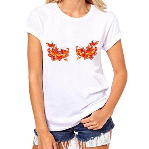Malloom Femmes Boob T-Shirt Imprimé Taille Grande Fille Chemise Manches Courtes Coton Chemisier Tops A